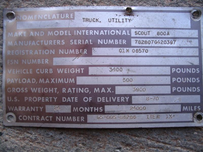 1963 Scout 80 Vin Plate Location Pirate4x4 Com 4x4 And