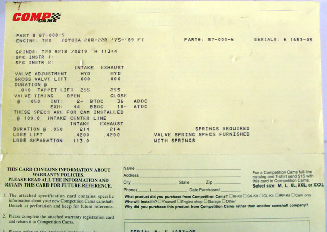 D Engine Back Pressure Re Cam Card on 1986 22re Vacuum Diagram
