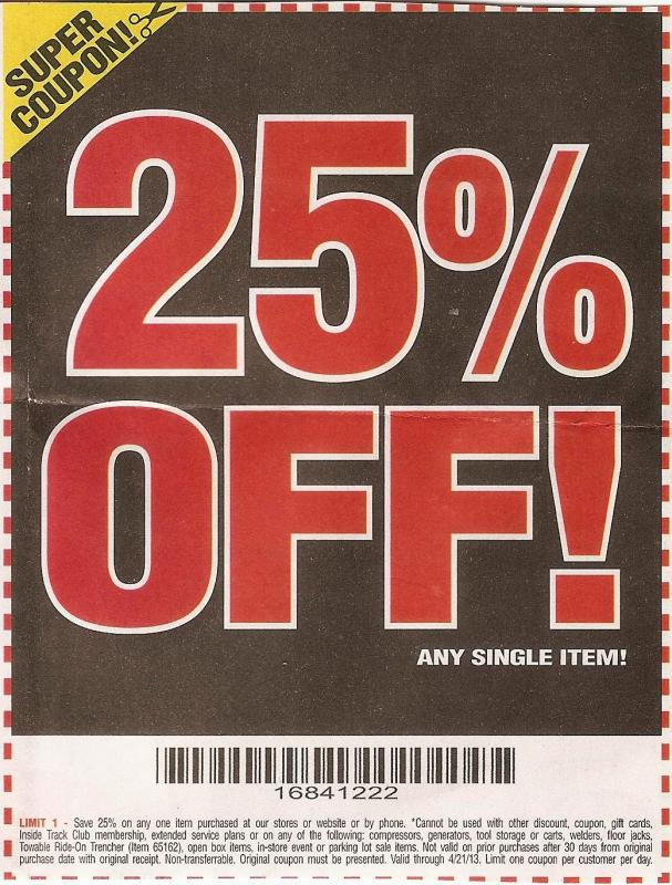 It's just a photo of Lucrative Harbor Freight 25 Off Printable Coupon 2020