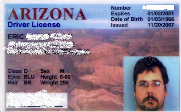 Arizona driver license template