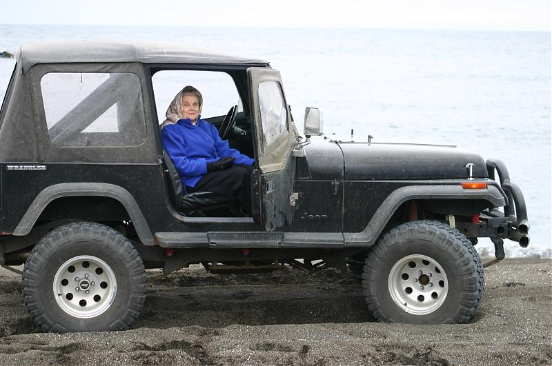 Name:  Mrs. B in the Jeep.jpg
