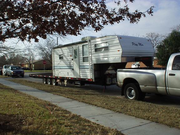 Truck Camper On Gooseneck Trailer