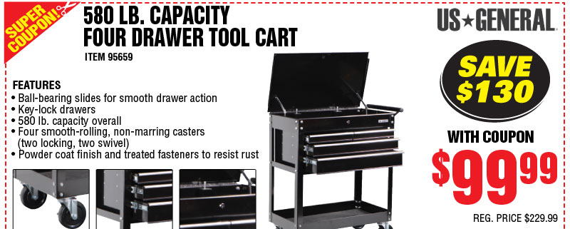 hf tool cart 4 drawer 99 coupon pirate4x4 com 4x4 and off road forum. Black Bedroom Furniture Sets. Home Design Ideas