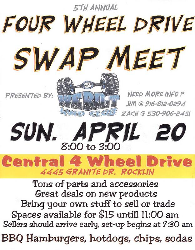 WeBilt 4WD Swap Meet - Rocklin, CA - April 20th