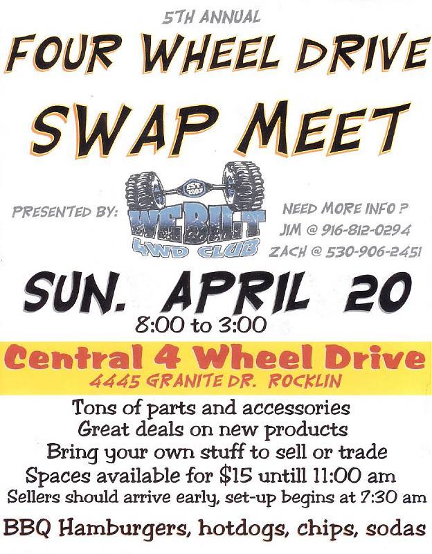 WeBilt 4WD Swap Meet - Rocklin, CA - April 20th