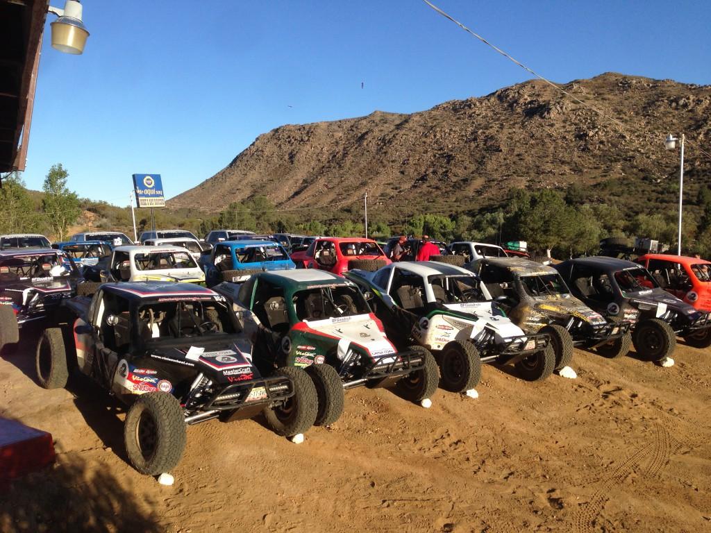The fleet of Baja Challenge cars and Miller Motorsports Raptors