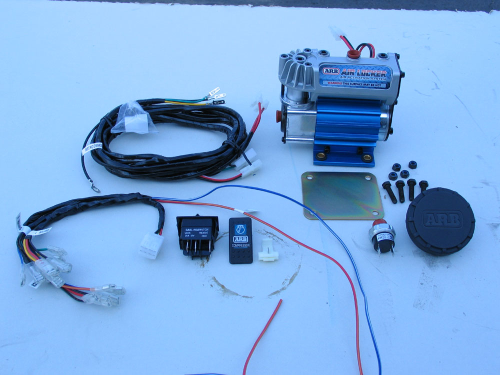 the kit contains (clockwise from top right) the compressor ... air compressor wiring harness #2