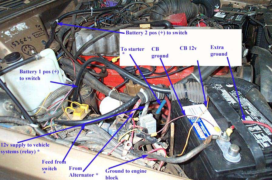 billavista s dual battery setup all the cables marked an come together at the junction block seen in the pic just above the relay see the schematic for details